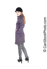 ficar, ombro, mulher, casaco inverno, sobre, olhar