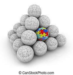 ficar, original, piramide, autistic, quebra-cabeça, um, bolas, pedaços, especiais