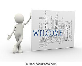 ficar, palavra, etiquetas, bem-vindo, wordcloud, homem, 3d