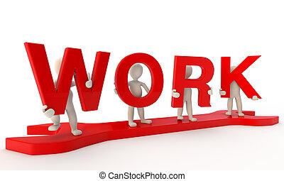 ficar, palavra, formando, trabalho, humanos, chave, grande, vermelho, 3d