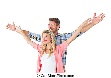 ficar, par, jovem, atraente, mãos