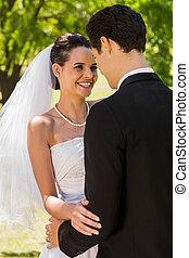 ficar, par, parque, romanticos, recém casado