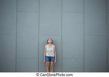 ficar, parede, mulher, cinzento, frente