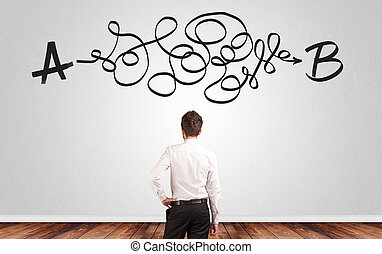 ficar, parede, solução, olhar, enquanto, frente, homem negócios