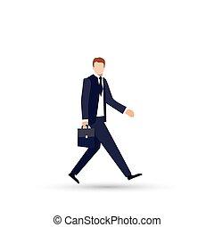 ficar, pasta, couro, mão., jovem, elegante, homem negócios, terno preto, laço, caricatura, vermelho, bonito