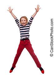 ficar, pequeno, cheio, isolado, despreocupado, enquanto, pular, comprimento, menina, branca, child., feliz