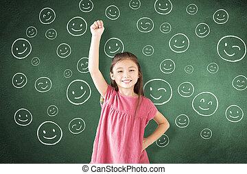 ficar, pequeno, contra, rosto, chalkboard, menina, ícone, tábua