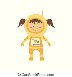 ficar, pequeno, cosmonauta, amarela, astronauta, space., spacesuit, menina, viajando