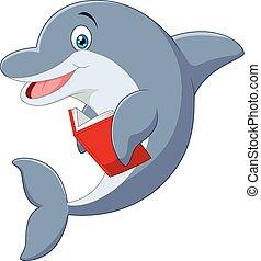 ficar, pequeno, golfinho, caricatura, hol