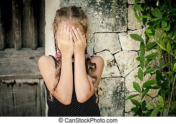 ficar, pequeno, parede, pedra, triste, retrato, menina, dia