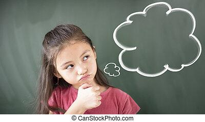 ficar, pequeno, pensando, contra, chalkboard, menina, bolha