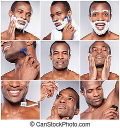 ficar, pessoal, imagem, jovem, contra, cinzento, composto, enquanto, fundo, africano, care., bonito, aparência, homem