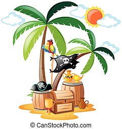 ficar, pirata, papagaio, pássaro