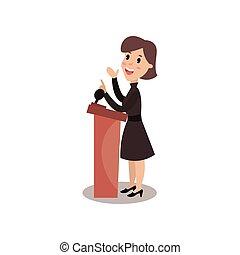 ficar, político, debates, dar, personagem, político, ilustração, público, atrás de, vetorial, femininas, fala, orador, rostrum
