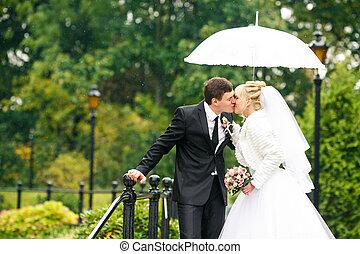 ficar, ponte, guarda-chuva, apenas, beijos, par, casado, parque, sob