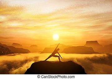 ficar, posição, mulher, ioga