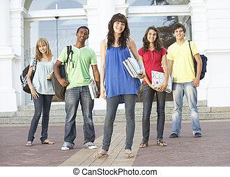 ficar, predios, adolescente, grupo, estudantes, exterior, faculdade