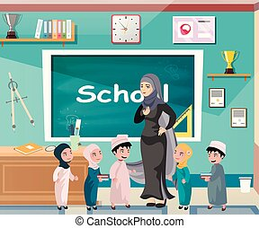ficar, quadro-negro, professor, muçulmano, frente, kids.