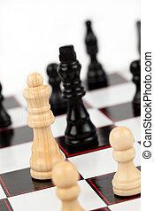 ficar, rei, chessboard, rainha, pretas, branca