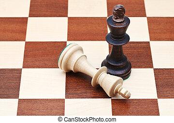 ficar, reis, caído, xadrez