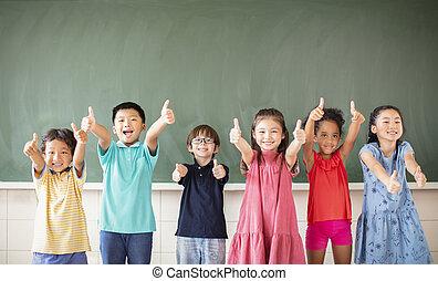 ficar, sala aula, escola, grupo, multi-étnico, crianças