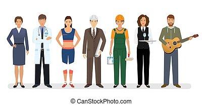 ficar, sete, grupo, pessoas, doutor, trabalhadores, junto, musician., caráteres, empregado, engenheiro