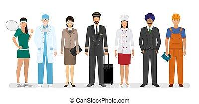 ficar, sete, grupo, pilot., pessoas, junto, trabalhadores, desportista, cozinheiro, caráteres, empregado
