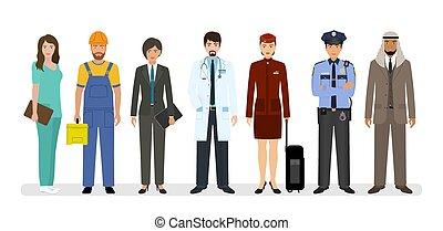ficar, sete, grupo, policial, doutor, trabalhadores, pessoas, junto, nurse., caráteres, empregado