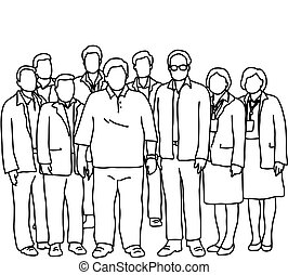 ficar, sete, isolado, doodle, concept., linhas, esboço, ilustração, dois, experiência., vetorial, trabalho equipe, junto, desenhado, pretas, branca, mão, mulheres negócios, busunessmen