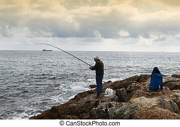 ficar, seu, mão, tentando, vara, pedras, enquanto, pescador...