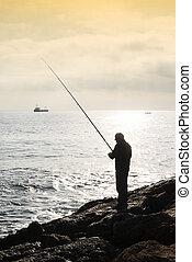 ficar, seu, mão, vara, pedras, pescador, pesca, pôr do sol, ...