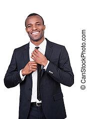 ficar, seu, negócio, gravata, olhar, ajustar, africano,...