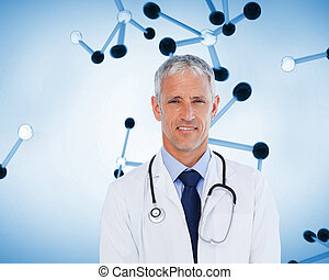 ficar, seu, pescoço, doutor, Estetoscópio, sorrindo