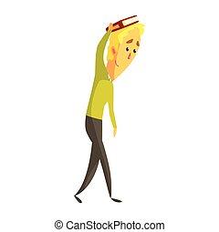 ficar, seu, segurando, coloridos, mão., personagem, jovem, livro, loura, caricatura, homem