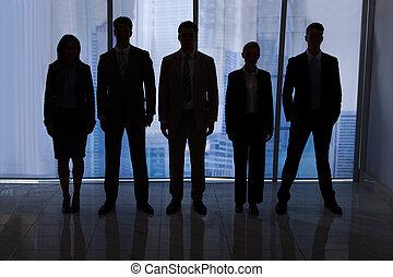 ficar, silueta, escritório, pessoas negócio