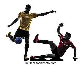 ficar, silueta, homens, dois, jogador, futebol
