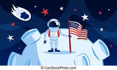ficar, spacesuit, astronauta, lua