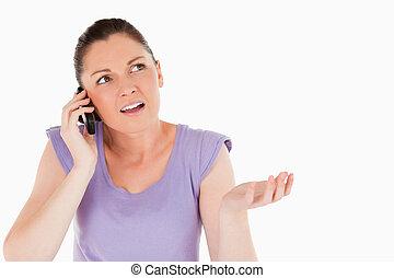 ficar, telefone, enquanto, mulher, encantador