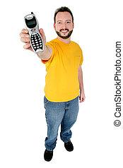 ficar, telefone, homem