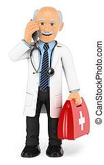 ficar, telefone, móvel, doutor, falando, 3d