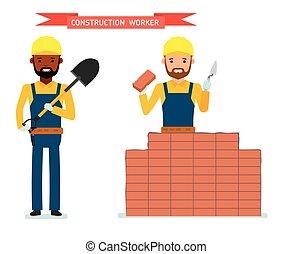 ficar, tijolos, seu, pá, trabalhador, jogo, trabalhador, construção, macho, hands., coloca