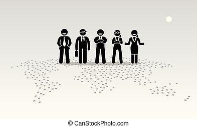 ficar, topo, map., homens negócios, mundo, mulheres negócios