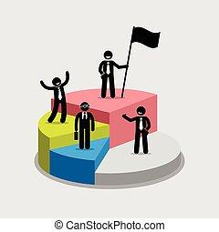 ficar, topo, torta, chart., porção, cada, homem negócios