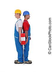 ficar, trabalhadores, duo, isolado, costas, branca
