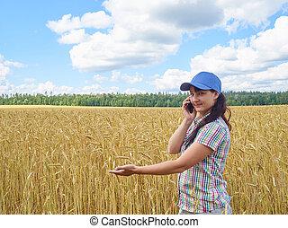 ficar, trigal, jovem, amarela, falando, telefone., bonito, agricultor, menina