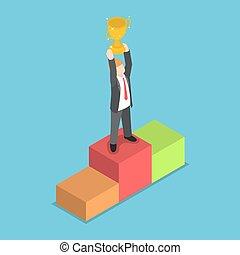 ficar, troféu, isometric, segurando, homem negócios,...