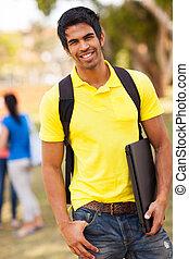 ficar, universidade, indianas, estudante, ao ar livre, macho