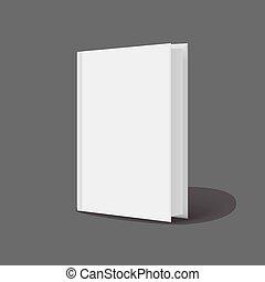 ficar, verticalmente, cinzento, experiência., livros, modelo