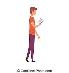ficar, vetorial, roupas, jovem, ilustração, livro, leitura, casual, homem