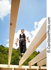 ficar, vigas, carpinteiro, telhado